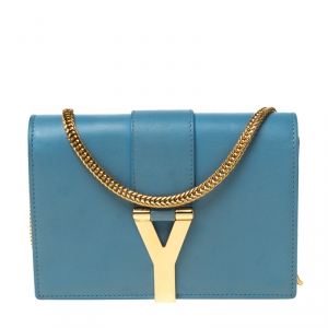 Saint Laurent Paris Blue Leather Mini Y-Ligne Crossbody Bag