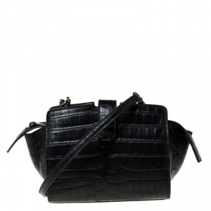 Saint Laurent Paris Black Crocodile Embossed Leather Monogram Cabas Crossbody Bag