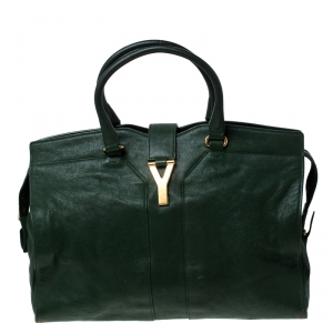Saint Laurent Paris Green Leather Large Cabas Chyc Satchel
