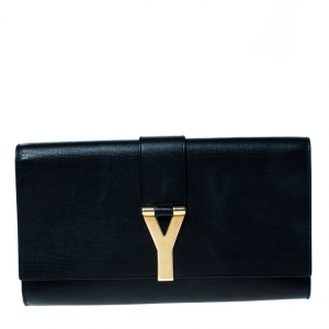 Saint Laurent Black Patent Leather Y-Ligne Clutch