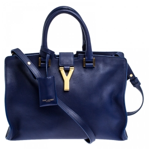 Saint Laurent Paris Blue Leather Small Cabas Chyc Tote