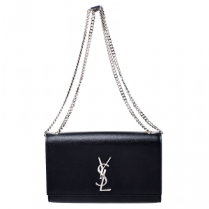 Saint Laurent Paris Black Leather Kate Chain Shoulder Bag