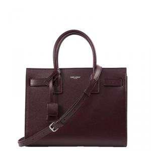 Saint Laurent Burgundy Leather Small Sac De Jour Tote