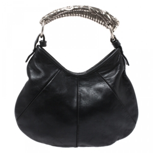 Yves Saint Laurent Black Leather Mini Mombasa Hobo