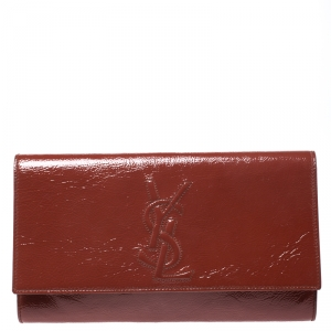 Yves Saint Laurent Cinnamon Brown Patent Leather Belle De Jour Flap Clutch