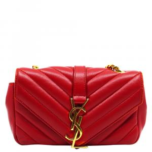 Yves Saint Laurent Red Leather Matelasse Monogram Classic Baby Bag