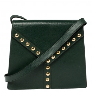 Yves Saint Laurent Green Leather Y Studded Flap Shoulder Bag
