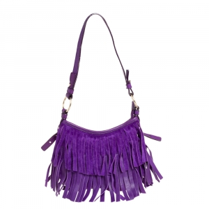 Yves Saint Laurent Purple Suede and Leather Fringe Hobo