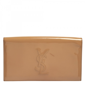 Yves Saint Laurent Beige Patent Leather Large Belle De Jour Clutch