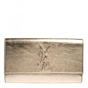 Yves Saint Laurent Metallic Gold Leather Large Belle De Jour Clutch