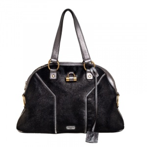 Yves Saint Laurent Black/Grey Calf Hair and Leather Large Muse Satchel