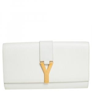 Saint Laurent White Leather Y-Ligne Clutch