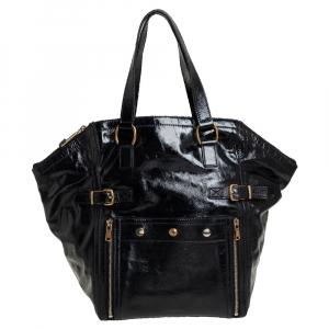 حقيبة يد سان لوران باريس داونتاون كبيرة جلد لامع أسود