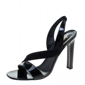 Saint Laurent Paris Black Patent Leather and Suede Slingback Sandals Size 40