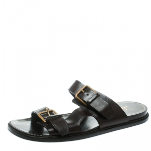 Saint Laurent Paris Brown Leather Buckle Detail Slides Size 40