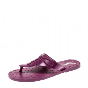 Saint Laurent Paris Purple Rubber Thong Flats Size 38