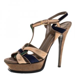 Yves Saint Laurent Tricolor Suede Tribute Platform Sandals Size 39 - used