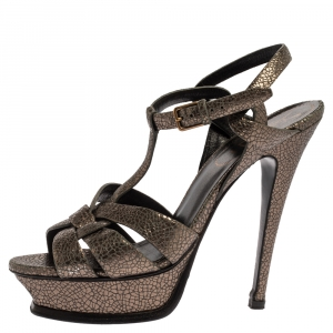 Yves Saint Laurent Metallic Grey Textured Leather Tribute Platform Sandals Size 38 - used