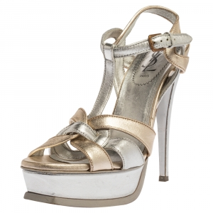 Yves Saint Laurent Metallic Gold/Silver Leather Tribute Platform Sandals Size 37.5 - used