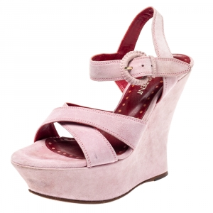 Yves Saint Laurent Pink Suede Criss Cross Ankle Strap Wedge Sandals Size 37