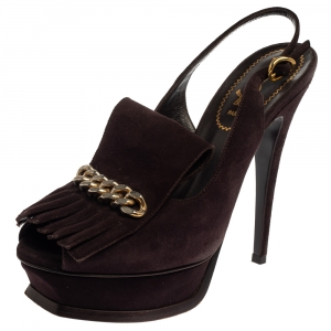 Saint Laurent Dark Brown Suede Tribute Fringe Chain Detail Platform Sandals Size 37.5 - used