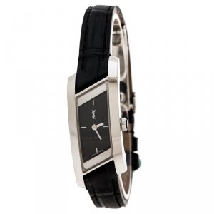 Yves Saint Laurent Black Stainless Steel Rive Gauche Women's Wristwatch 17 mm