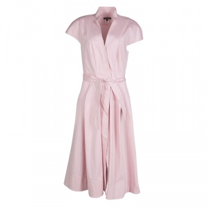 Zac Posen Pink Cotton Mandarin Collar A-Line Belted Shirt Dress S