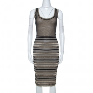 Zac Posen Black and Beige Striped Knit Sleeveless Midi Dress S