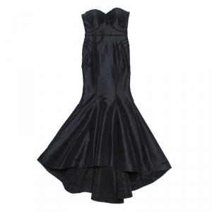 Zac Posen Black Silk Strapless Mermaid Gown L used