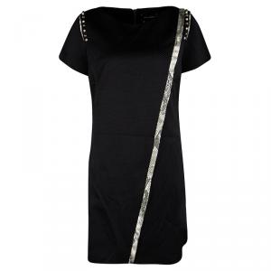 Zadig and Voltaire Black Embellished Frayed Trim Detail Ranon BF Dress M