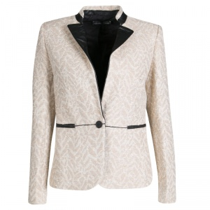 Zadig and Voltaire Metallic Jacquard Leather Trim Victana Deluxe Jacket S