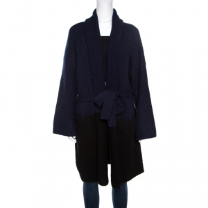 Zadig and Voltaire Bicolor Wool Belted Mia Cardigan M/L