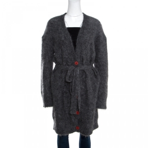 Zadig & Voltaire Mottled Grey Mohair and Wool Belted Long Cardigan M/L