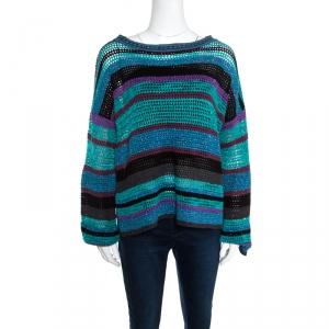 Zadig & Voltaire Multicolor Crochet Knit Striped Bateau Neck Flint Ho Sweater S