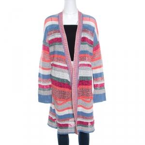 Zadig and Voltaire Multicolor Striped Lurex Crochet Knit Celia Cardigan M
