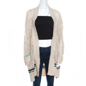 Zadig and Voltaire Cream Crochet Knit Merino Wool Open Front Pix Hook Cardigan M