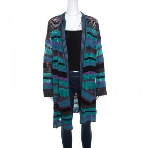 Zadig and Voltaire Multicolor Striped Lurex Crochet Knit Celia Cardigan S