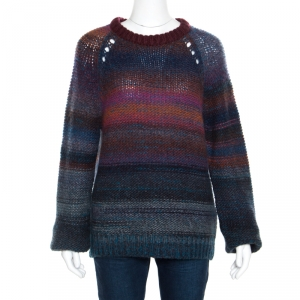 Zadig and Voltaire Striped Wool and Mohair Perforated Raglan Sleeve Kong Pa Sweater L
