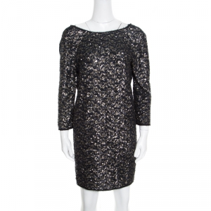 Zadig and Voltaire Deluxe Noir Matte Sequin Embellished Rousse Shift Dress M
