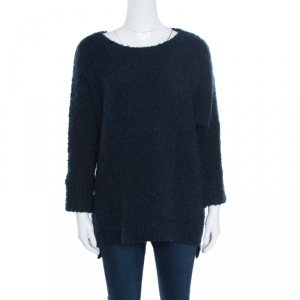 Zadig and Voltaire Navy Blue Chunky Athina Sweater ( One Size )