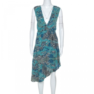 Zadig and Voltaire Green Printed Knit Sleeveless Root Dress S