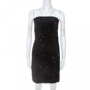 Zadig and Voltaire Black Sequined Raleg Tube Mini Dress M