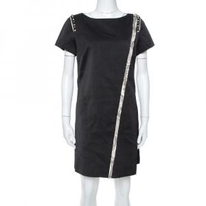Zadig & Voltaire Black Textured Stud Embellished Ranon BF Dress M