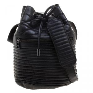 Zadig and Voltaire Black Quilted Leather Bobo Drawstring Bucket Bag