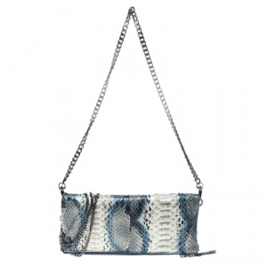 Zadig and Voltaire White/Turquoise Python Rock Foldover Clutch Bag