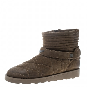 Zadig and Voltaire Khaki Green Quilted Suede Suuns Faux Fur Lined Ankle Boots Size 40