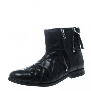 Zadig and Voltaire Black Quilted Leather Presets Biker Ankle Boots Size 39