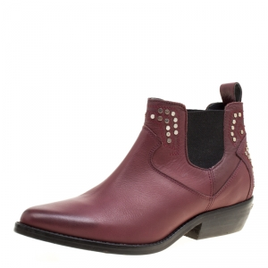 Zadig and Voltaire Burgundy Leather Studded Pointed Toe Ankle Boots Size 37
