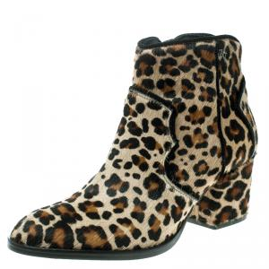 Zadig and Voltaire Brown Leopard Print Calf Hair Molly Leo Cowboy Boots Size 39