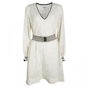 Zadig and Voltaire Deluxe Cream Silk Star and Lighting Print Belted Dress M